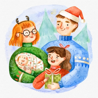 Aquarel kerst familie scène
