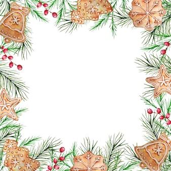 Aquarel kerst frame met winter sparren en pijnboomtakken, bessen en peperkoek.