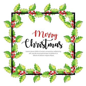 Aquarel kerst frame ontwerp