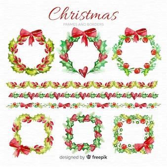 Aquarel kerst frames en grenzen pack