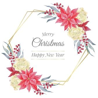 Aquarel kerst gouden veelhoekige frame met rozen en poinsettia