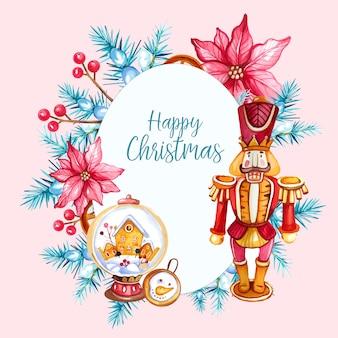 Aquarel kerst illustratie met notenkraker