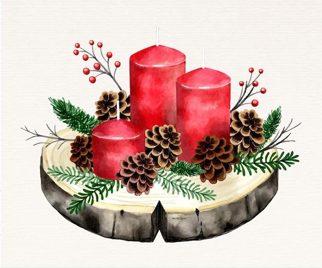 Aquarel kerst kaars achtergrond