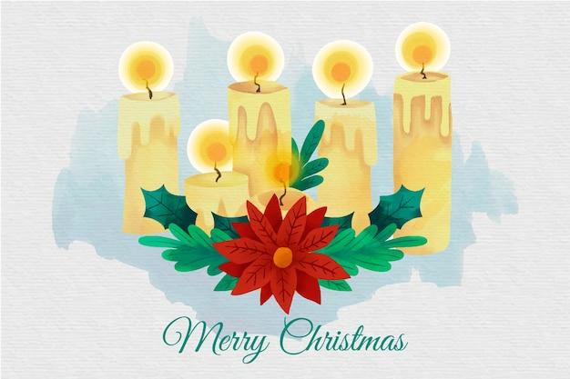 Aquarel kerst kaars behang
