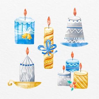 Aquarel kerst kaarsen pack
