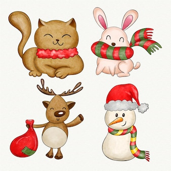 Aquarel kerst karakters collectie Gratis Vector