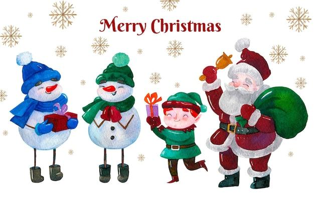 Aquarel kerst karakters collectie