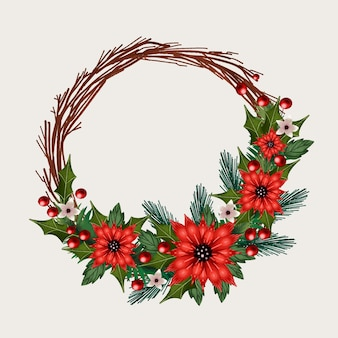 Aquarel kerst krans sjabloon