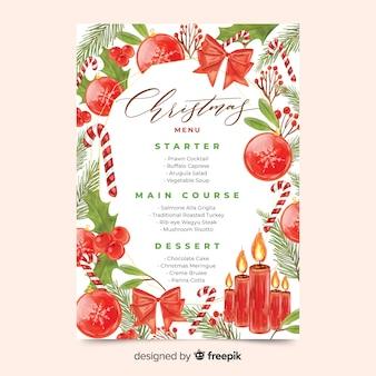Aquarel kerst menusjabloon met linten en kaarsen