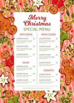 Aquarel kerst menusjabloon met peperkoek mannen