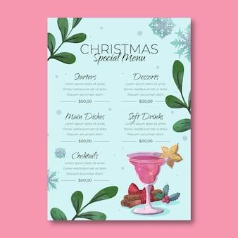Aquarel kerst menusjabloon