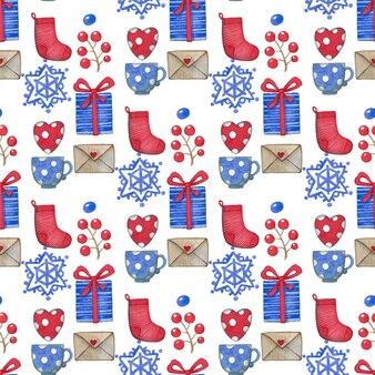 Aquarel kerst naadloze patroon, geschenkdoos