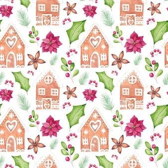 Aquarel kerst naadloze patroon met aquarel traditionele seizoensgebonden elementen.