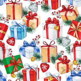 Aquarel kerst naadloze patroon met geschenkdozen