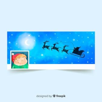 Aquarel kerst ontwerp facebook omslag