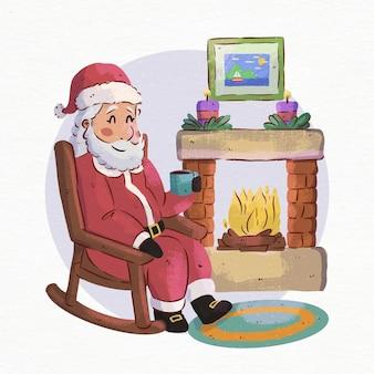 Aquarel kerst open haard scène