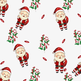 Aquarel kerst patroon achtergrond met santa claus