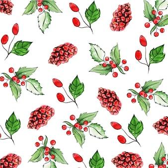 Aquarel kerst patroon achtergronden