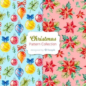Aquarel kerst patroon collectie