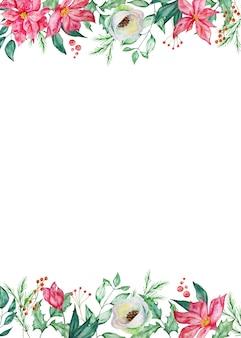 Aquarel kerst rechthoekig frame met winter sparren en pijnboomtakken, bessen en winter rode en witte bloemen.