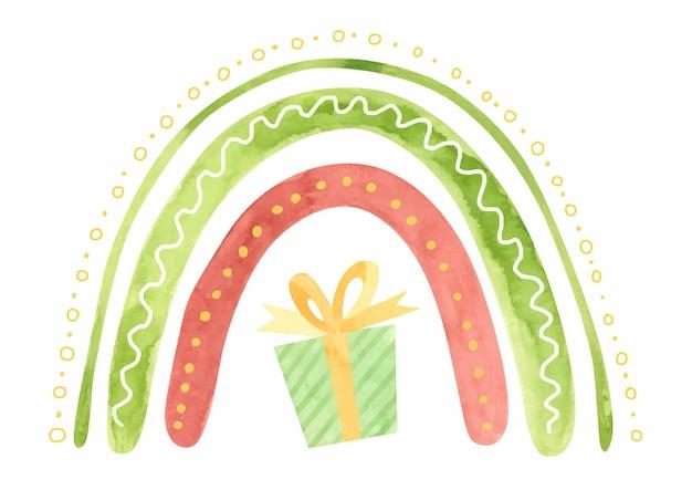 Aquarel kerst regenboog met kerst geschenkdoos vakantie winter clipart