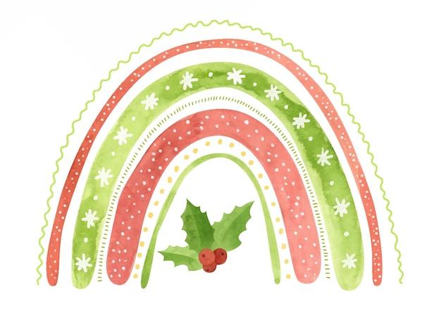 Aquarel kerst regenboog met sneeuwvlokken en hulst bladeren vakantie winter clipart
