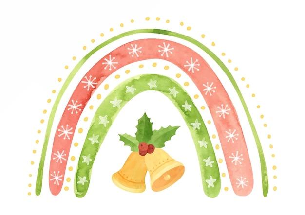 Aquarel kerst regenboog met sneeuwvlokken sterren jingle bells en hulst bladeren vakantie clipart