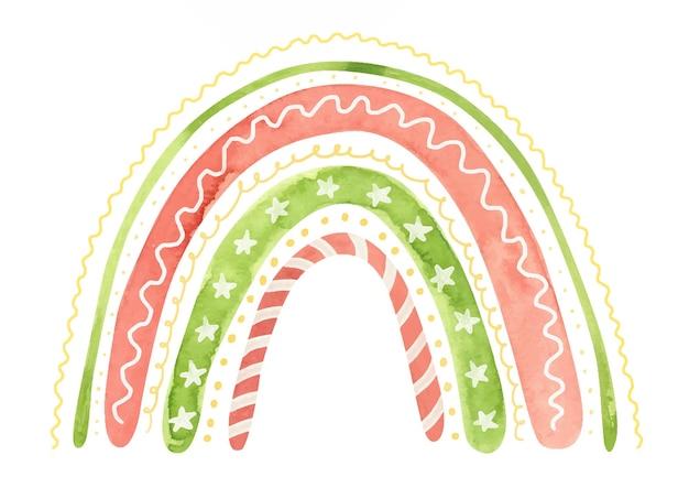 Aquarel kerst regenboog vakantie winter clipart