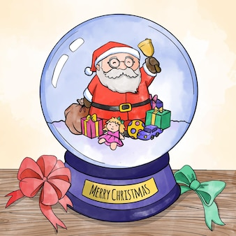 Aquarel kerst sneeuwbal globe met kerstman