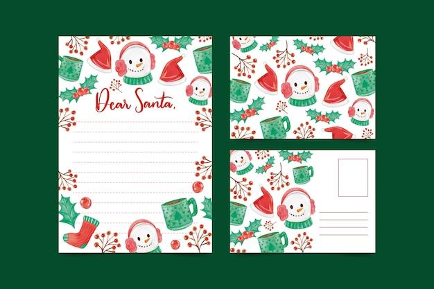 Aquarel kerst sneeuwpop briefpapier sjabloon
