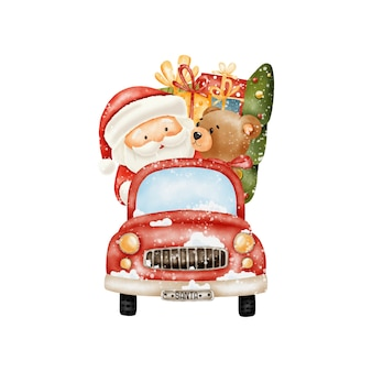 Aquarel kerst truck illustratie