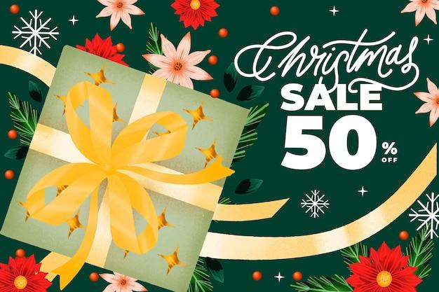 Aquarel kerst verkoop banner met cadeau