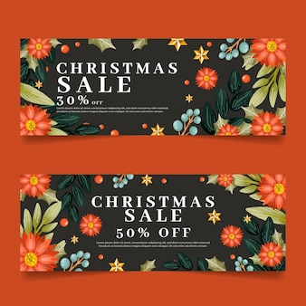 Aquarel kerst verkoop banners instellen