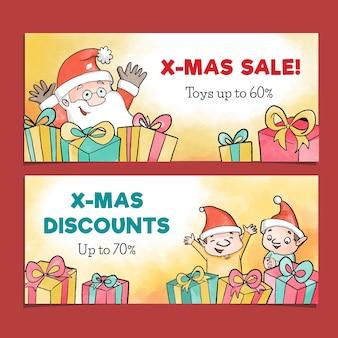 Aquarel kerst verkoop banners sjabloon