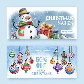 Aquarel kerst verkoop banners