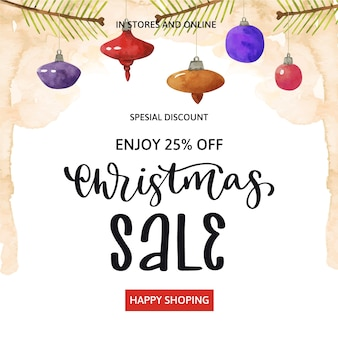 Aquarel kerst verkoop met hangende kerstballen