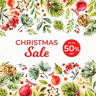Aquarel kerst verkoop promo met korting