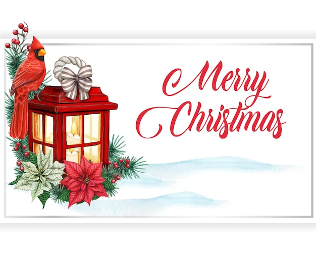 Aquarel kerst wenskaart met rode lantaarn en rode kardinaal vogel