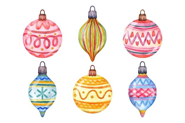 Aquarel kerstbal ornamenten collectie