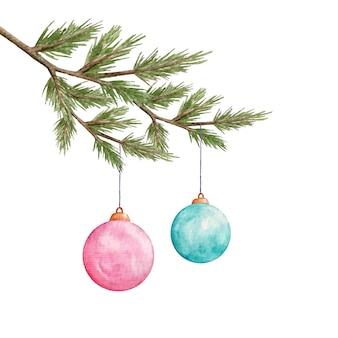 Aquarel kerstballen opknoping op pijnboomtak