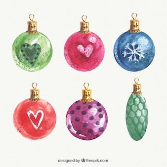 Aquarel kerstballen set