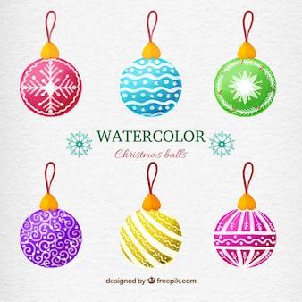 Aquarel kerstballen