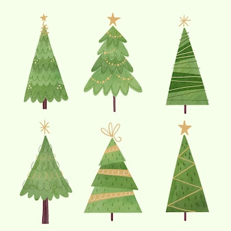 Aquarel kerstbomen collectie