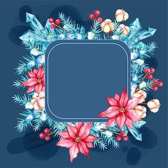 Aquarel kerstboom decoratief frame met katoen en poinsettia