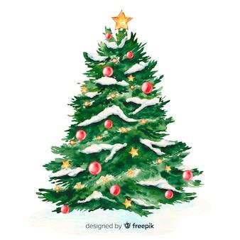 Aquarel kerstboom en sneeuw
