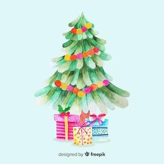 Aquarel kerstboom met cadeautjes