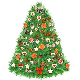 Aquarel kerstboom met heerlijke decoraties