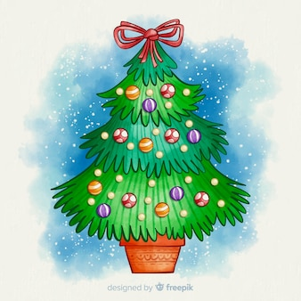Aquarel kerstboom met lint bovenop