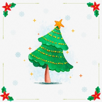 Aquarel kerstboom met ornamenten