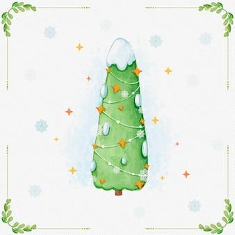 Aquarel kerstboom met sneeuw